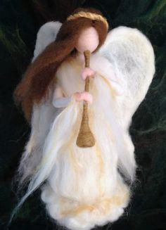Needle Felted Angel Tree Topper Waldorf by ClaudiaMarieFelt