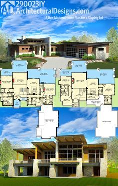 Architectural Designs 5 Bed Modern House Plan gives you over 5,000 square feet of living and is designed for your rear sloping lot. Imagine those views off the back!  Ready when you are. Where do YOU want to build?