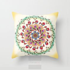 Throw Pillow Cover. Floral Watercolor Mandala Boho Decorative Cushion Cover. Mandala Pillow Cover. 18 inch. Double sided Print - famenxtshop.com
