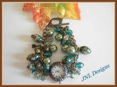 Shades of Green Watch Bracelet | jnldesigns - Jewelry on ArtFire