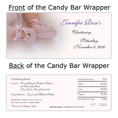 Rose Booties Candy WrapperChristening Baptism Favors