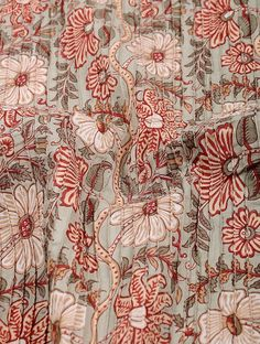 Buy Grey Red Beige Ivory Pintuck Block printed Cotton Fabric Women Apparel Online at Jaypore.com