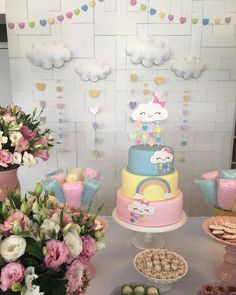 Algunas Ideas para Fiesta con Tema de Nubecitas Fiesta Baby Shower, Baby Shower Parties, 1st Birthday Girls, 1st Birthday Parties, Baby Decor, Baby Shower Decorations, Rain Baby Showers, Cloud Party, 1st Birthdays