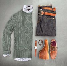 Levi's green jacket, light leather shoes or boots