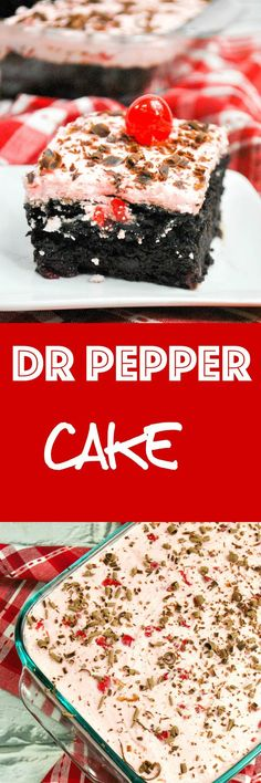 Dr Pepper Cake: Moist Dr. Pepper chocolate caketopped with sweet cherry buttercream. If you like Dr. Pepper, you needtotrythis cake! via @krystlekouture