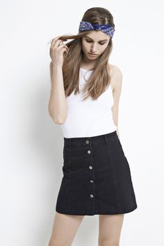 aa0a22d0f18a Black short denim skirt with studs