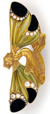 Lalique 'Winged-nymph' Brooch, 1898: gold/ diamonds/ enamel   hancocks-london.com