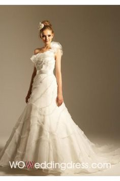 Beautiful Great Chapel Train Ruffled Appliqued Wedding Dresses - Beautiful Wedding Dresses Wholesale and Retail Online