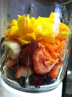 my smoothes on 4/28/2013  Mango, Orange, Carrots, Banana, Strawberries, Blackberries, Blueberries, Mix Nuts Powder Soy Protein