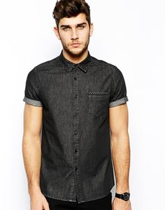 ASOS Denim Shirt In Short Sleeve With Embossed Studs