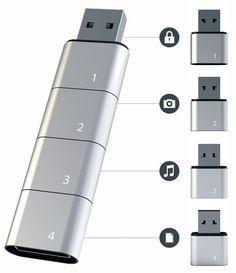 Дизайнер Хъюнсу Сон (Hyunsoo Song) представил концепт модульного флеш-накопителя Amoeba, в котором данные распределены между четырьмя компонентами: личные данные, фото, музыка и рабочие документы. Каждый из этих компонентов является автономной флешкой, но если подключить их друг к другу, они образуют единое дисковое пространство. При этом пользователю даже не приходится сортировать файлы вручную, все происходит автоматически. И если вдруг становится необходимо передать кому-то флешку…