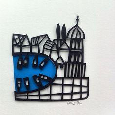 Tiny hand cut papercut inspired by my trip to Croatia by Caroline Rees Www.blastedglass.co.uk