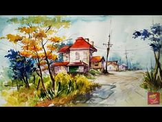 """This video is all about the """"Simple Water Color landscape For Beginners """".It shows how to paint in an easy manner,a simple sketch of a landscape & Painted co..."""