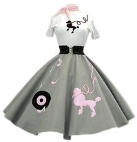 PDS5 Light Gray Skirt With Pink Dog Record Notes