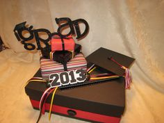 Black Red & White Graduation/Party Card Box by lisaspaperparrodise,