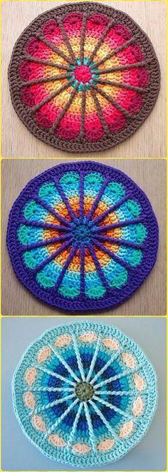 Crochet Spoke Mandala Potholder Free Pattern - Crochet Pot Holder Hotpad Free Patterns