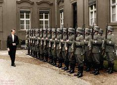 Adolf Hitler reviews an honour guard in the inner yard of the Reichspräsidentenpalais, Berlin, Germany, 12 September 1934. (via historicaltimes)