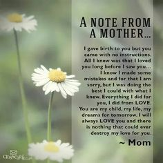 Note from a mother!