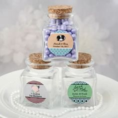These fabulous favor jars can be personalized for a wedding or love themed occasion with a sticker of your choice.