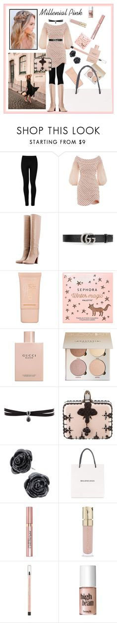"""""""Millennial Pink Contest"""" by wildorchid21-1 ❤ liked on Polyvore featuring Wolford, Zimmermann, L'Autre Chose, Gucci, Maybelline, Sephora Collection, Fallon, Christian Louboutin, Balenciaga and L'Oréal Paris"""