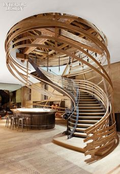 very cool looking staircase, makes me think of going into a tree fort for some reason.