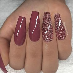 REPOST - - - - Marsala red and glitter on long coffin nails - - - - Image and . REPOST – – – – Marsala red and glitter on long coffin nails – – – – Image and … Coffin Nails Long, Long Nails, Short Nails, Cute Nails, Pretty Nails, Best Acrylic Nails, Winter Acrylic Nails, Acrylic Nails Coffin Glitter, Acrylic Nails For Summer Coffin