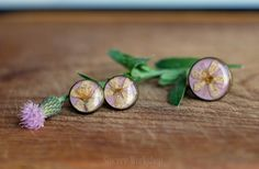 Cherry blossom Stud earrings flower ring dried flower resin jewelry lilac purple herbarium botanical jewelry flower earrings romance Spring by sincereworkshop on Etsy