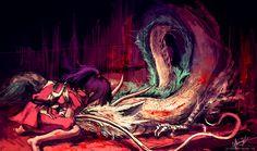 Chihiro and Haku - Spirited Away. [ilustraciones sobre Ghibli-Alice X. Inglourious Basterds, Hayao Miyazaki, Blade Runner, Pulp Fiction, Le Vent Se Leve, Chihiro Y Haku, Studio Ghibli Movies, Castle In The Sky, Howls Moving Castle