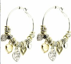 Love Heart Hoop Earrings Gold Silver European Rondelle Charm Bead Two-tone #Unbranded #Hoop