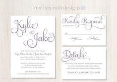 Printable Wedding Invitation Suite The Kylie Collection in