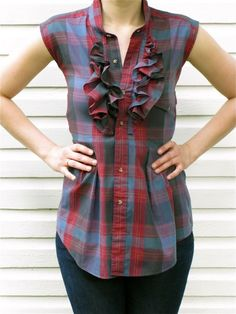 this lovely plaid ruffled blouse was reconstructed from a vintage mens shirt and features muted deep blues and reds. the top now has small cap sleeves, ruffles, and a fitted waist with pleating.  truly one of a kind.      measurements (laying flat)    length (shoulder to hem at longest point): 28 1\/2 inches  length (shoulder to waist): 14 3\/4 inches  waist: 15 1\/4 inches  bust (armpit to armpit): 17 inches  would fit size best: XS\/S    garment is made from 100% recycled materials. good…