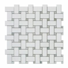 Thassos White Marble Polished Or Honed Basketweave Mosaic Tile W/ Ming-Green Dots