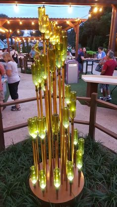 Wine bottle sculpture at epcot food and wine festival