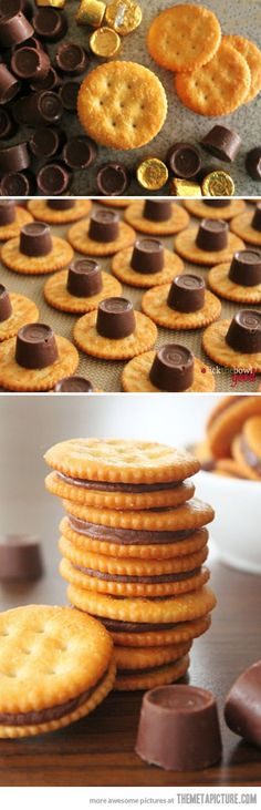 Preheat oven to 350. Place the salty side down and place one rolo on the cracker. Bake for 3 to 5 min to melt the rolo. Hen add another cracker on top and press down a little