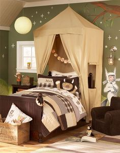 Cool camping bedroom...inspired by where the wild things are. I like the tent canopy over the bed.