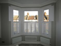 Wow check out this interesting cottage shutters - what an artistic design Bay Window Shutters, Cottage Shutters, White Shutters, Cottage Windows, Wooden Shutters, Window Seats, Bay Window Living Room, Living Room Lounge, Bedroom Windows