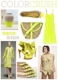 tan plus neon yellow