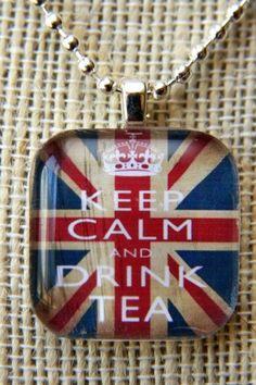 Keep Calm and Drink Tea Union Jack-Glass Tile by outonalimbstudio