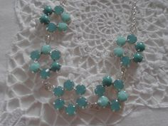 Swarovski crystals Pacific opal Mint necklace by ParisiJewelryDesigns, $74.00