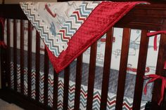 5 Day Ship - Airplane Crib Bedding - Vintage Airplane, Pewter Chevron, and Gray, Airplane Nursery Set Crib Skirts, Vintage Airplanes, Cribs, Pewter, Chevron, Trending Outfits, Handmade Gifts, Etsy, Home Decor