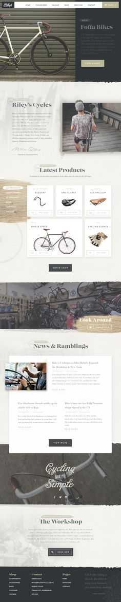 Riley's Cycles website concept by Nathan Riley for Green Chameleon