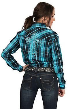 Cowgirl Hardware Women's Turquoise & Black Plaid with Cross Embroidery Long Sleeve Western Shirt Rodeo Shirts, Cowgirl Shirts, Western Shirts, Cowgirl Outfits, Western Outfits, Cowgirl Style, Country Girls Outfits, Country Dresses, Farm Clothes