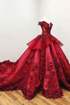 aa055f3765c 2019 Chic Ball Gown V Neck Beads Appliques Red Off-the-Shoulder Long Prom  Dresses uk PW139