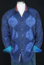 """Robert Graham """"Pissarro"""" NWT $498 Blue Limited Edition Classic Fit Large"""
