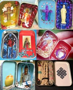 Altoids tins -> portable shrines & aids to prayer/meditation. Possible inclusions: 2D images, small statues, tea light or small candles, small book or cards, small incense sticks, prayer beads... Catholic Crafts, Catholic Art, Religious Art, Altered Tins, Altered Art, Altoids Tins, Tin Art, Home Altar, Candle Containers