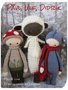 PAUL the toadstool, LUPO the lamb & DIRK the dragon made by Line L. / crochet pattern by lalylala