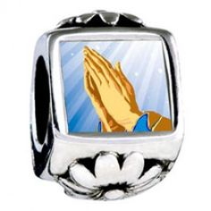 Religion Praying Hands Photo Flower Charms  Fit pandora,trollbeads,chamilia,biagi,soufeel and any customized bracelet/necklaces. #Jewelry #Fashion #Silver# handcraft #DIY #Accessory