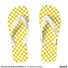 Checkered Gold and White Flip Flops