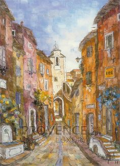 """Montée de la Fontaine (Ref/GIR029) by Philippe Giraudo - Reproduction 70 x 50 cm (19.75"""" x 27.60"""") - $ 24.99 Reproduction, French Riviera, French Artists, Painting, Drawings, Painting Art, Paintings, Painted Canvas"""