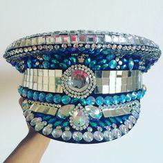 Super Blinging Military Captains hat for Festivals by HatsByDahlia